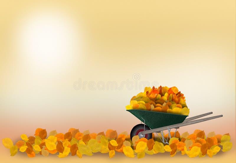 Schubkarre im Herbstgarten stock abbildung