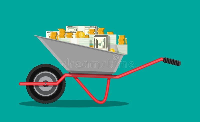 Schubkarre voll des Geldes stock abbildung