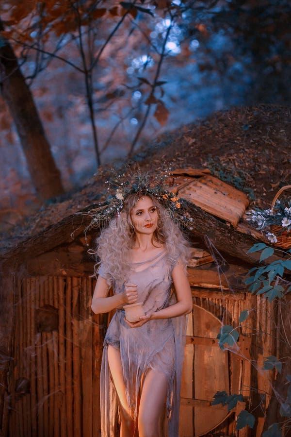 Schudt het jonge meisje van Nice met blond haar met een verbazende weelderige kroon op haar hoofd in het bos kruiden atmosferisch stock afbeeldingen