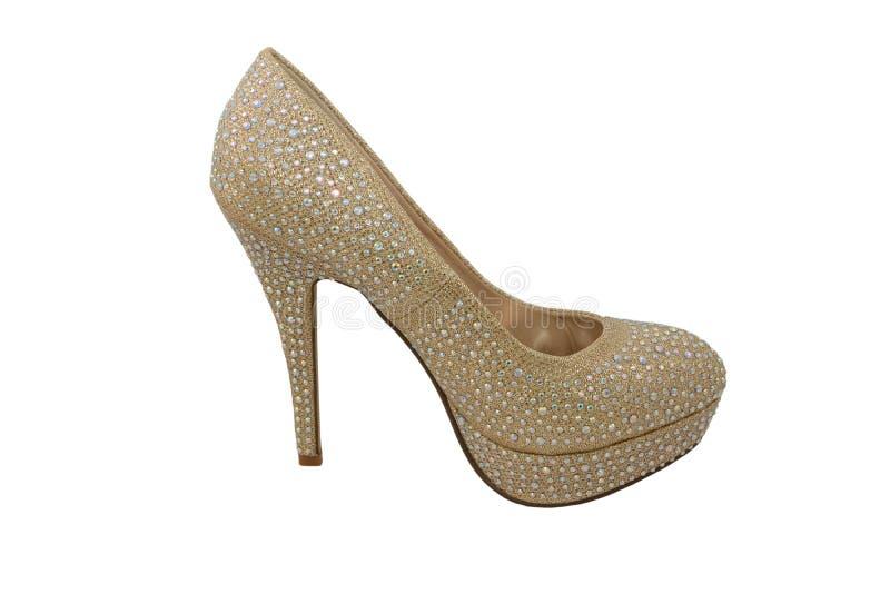 Schuh des hohen Absatzes Gold, bedeckt in funkelnden Edelsteinen stockfoto
