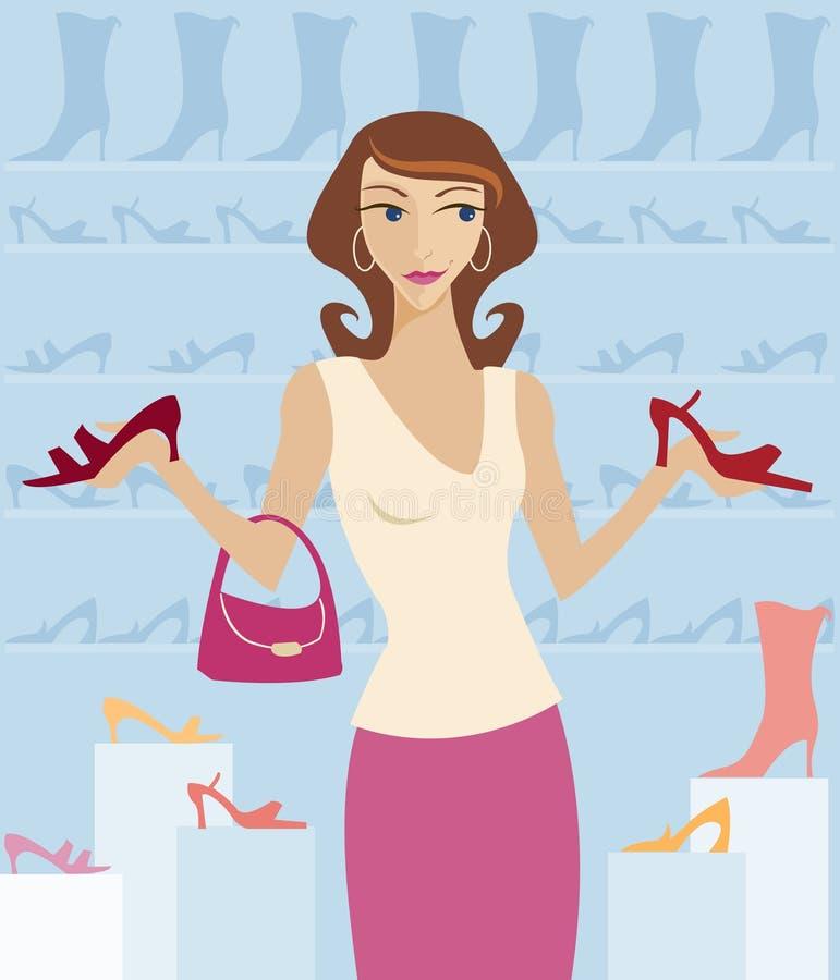 Schuh-Einkaufen lizenzfreie abbildung