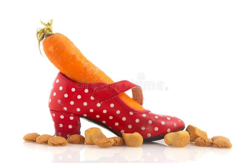 Schuh mit Karotte stockfotografie