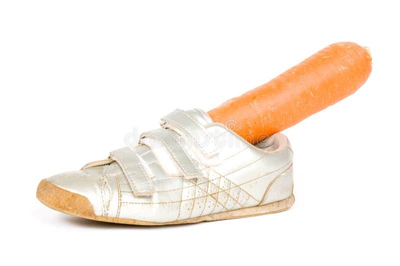 Schuh mit Karotte für das Pferd von Sinterklaas lizenzfreies stockbild