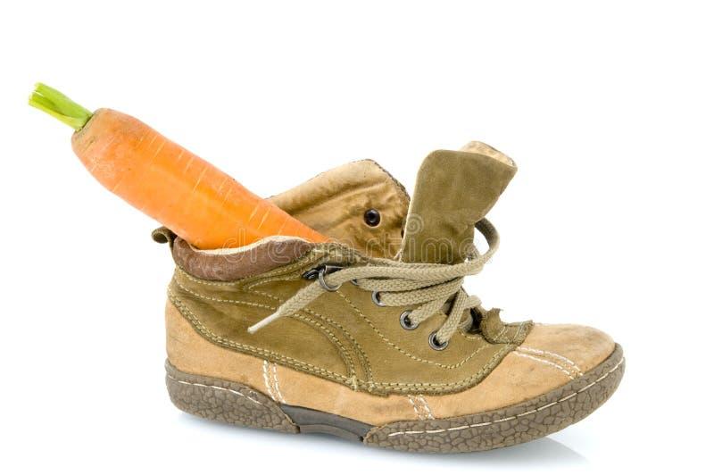 Schuh mit Karotte für Sinterklaas lizenzfreie stockfotos