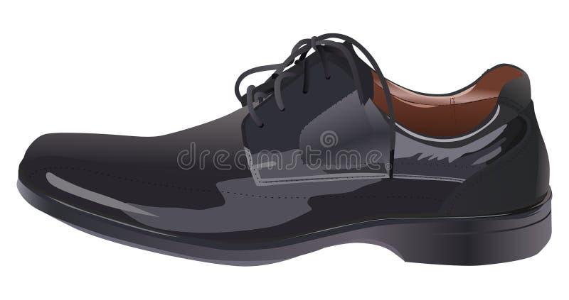 Schuhabbildung des schwarzen Mannes stock abbildung