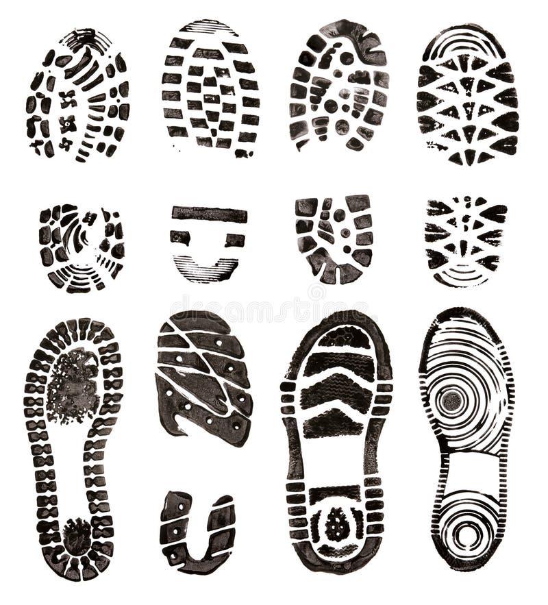 Schuhdrucke lizenzfreie abbildung
