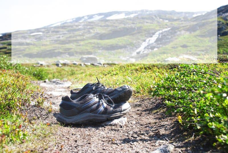Schuhe auf Trekkings-Weg, Kopien-Raum, Norwegen-Berg stockbilder