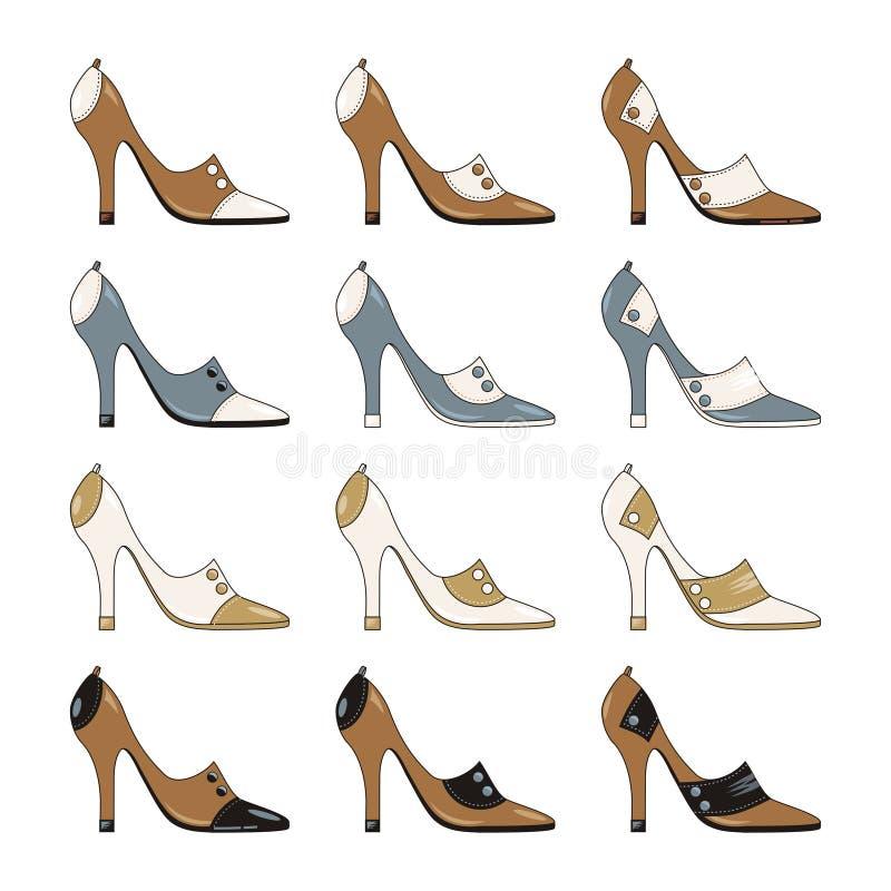 Schuhe der High-heeled vorbildlichen Damen getrennt auf Weiß lizenzfreie abbildung