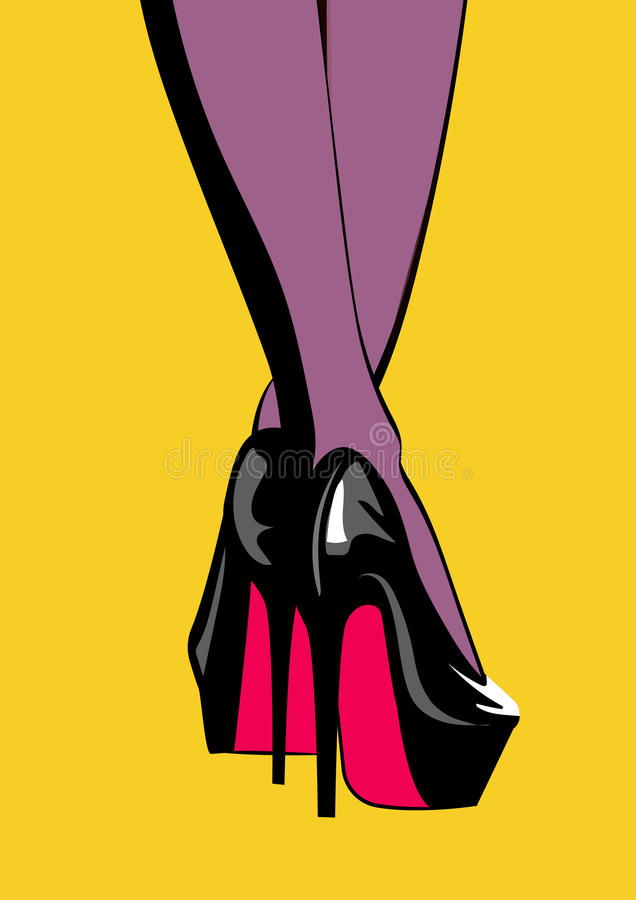 Schuhe der hohen Absätze der Frauenbeine in Mode Pop-Arten-Illustration vektor abbildung