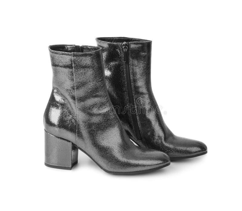Schuhe der schwarzen Frau stockfoto