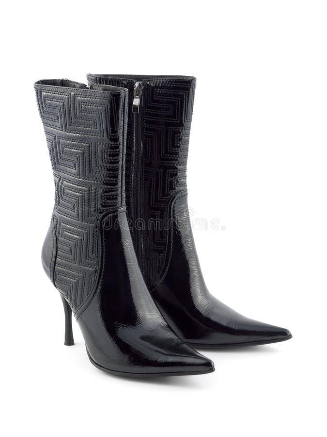 Schuhe der schwarzen Frauen lizenzfreies stockfoto
