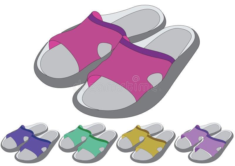 Schuhe in der unterschiedlichen Farbe stock abbildung