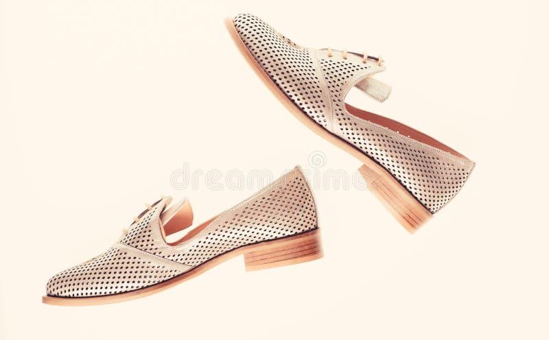 Schuhe hergestellt aus silbernem Leder heraus auf dem weißen Hintergrund, lokalisiert Paare der modernen bequemen Müßiggängerschu lizenzfreie stockfotografie