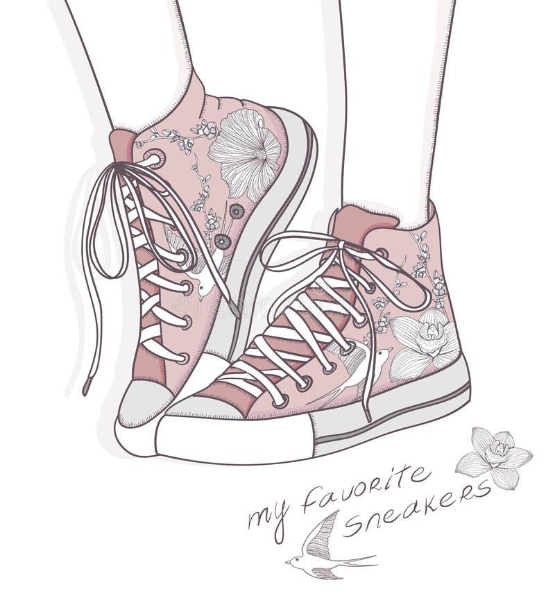 Schuhe mit Blumenmuster. Turnschuhhintergrund vektor abbildung