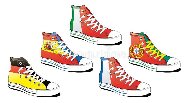 Schuhe mit Markierungsfahne stock abbildung
