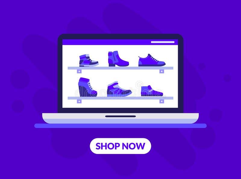 Schuhe speichern Landungsseiten-Schablone, weibliche Fußbekleidung auf Regalen, on-line-Boutique, Bekleidungsgeschäft-Vektor-Illu stock abbildung