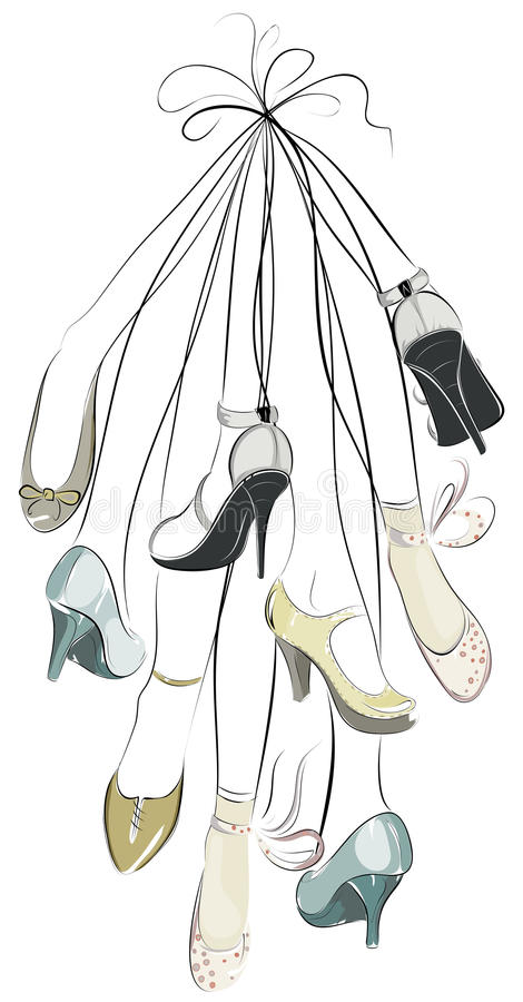 Schuhe und Fahrwerkbeine in einem Bündel stock abbildung