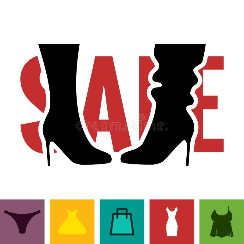 Schuhe-Verkaufs-Ikone lizenzfreie abbildung