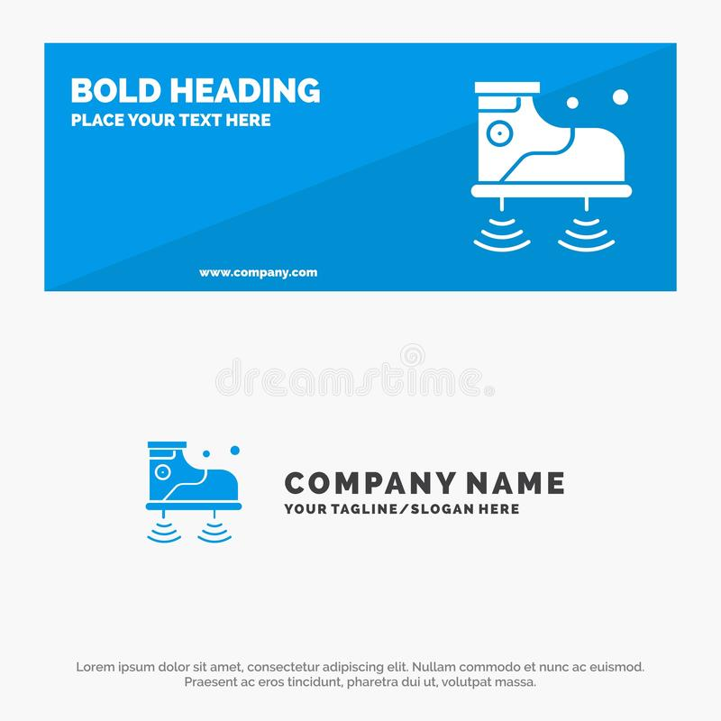 Schuhe, Wifi, Service, Technologie-feste Ikonen-Website-Fahne und Geschäft Logo Template stock abbildung