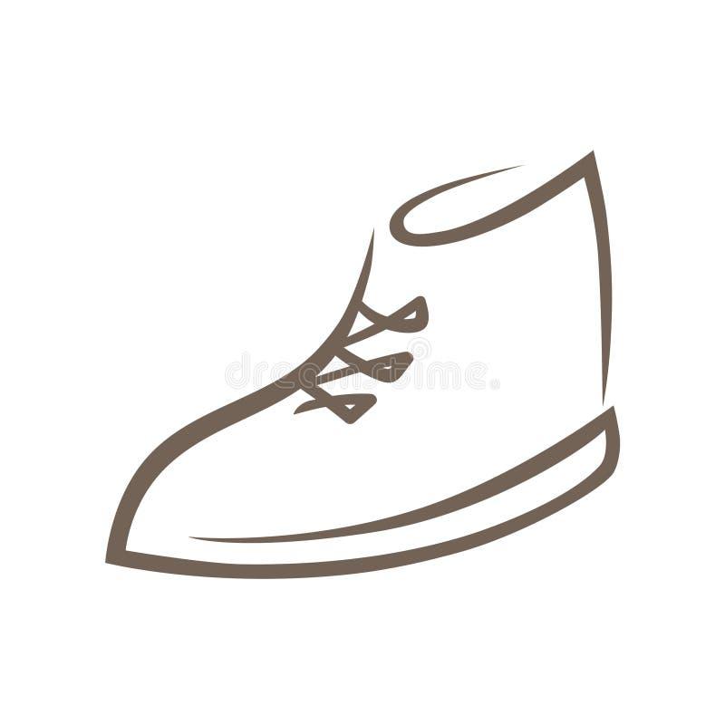 Schuhsymbol, Ikone auf Weiß lizenzfreie abbildung