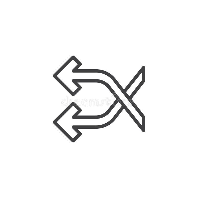 Schuifelgang die het pictogram van de pijlenlijn kruisen royalty-vrije illustratie