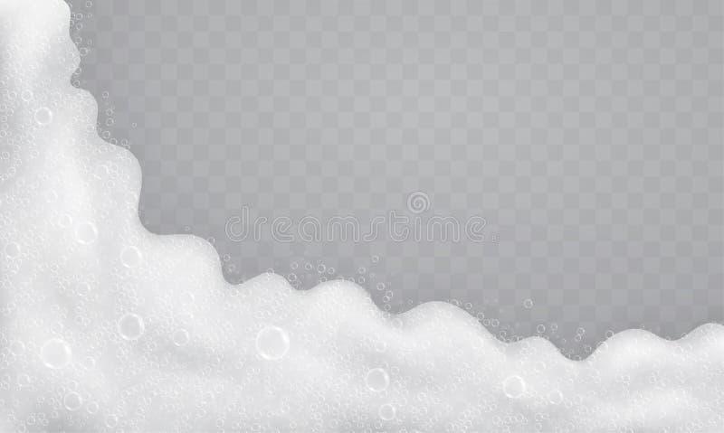 Schuim met zeepbels, hoogste mening Stroom van zeep en shampoo royalty-vrije illustratie