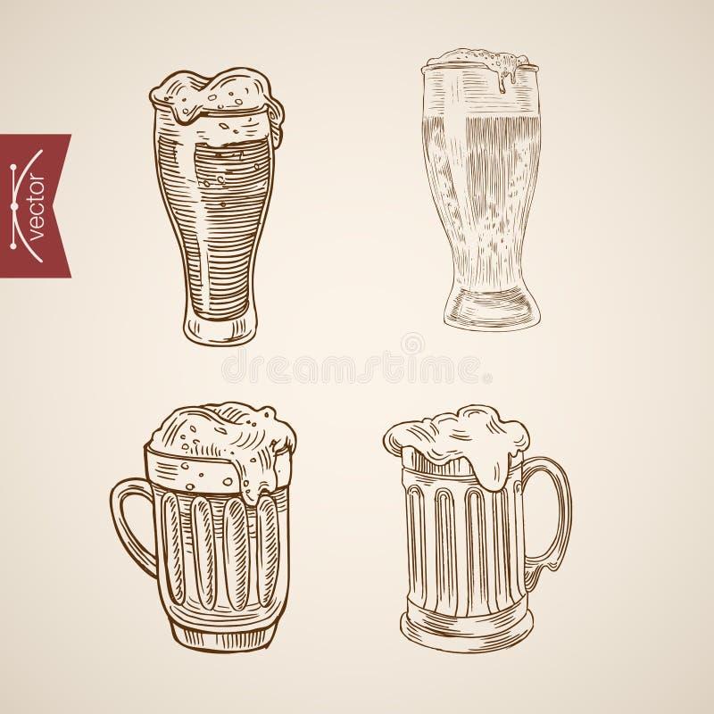 Schuimende bierglazen die lineart vector retro wijnoogst graveren royalty-vrije illustratie