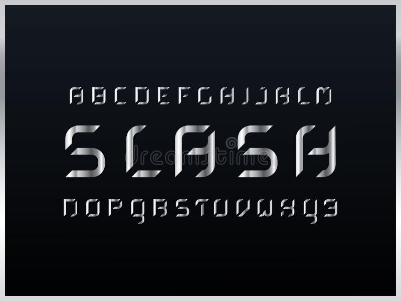 Schuine streep zilveren alfabet Vectorbrieven stock illustratie