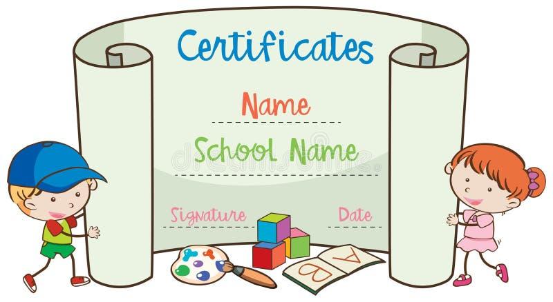 Schul-Art Certificate Template With Doodle-Kinder lizenzfreie abbildung