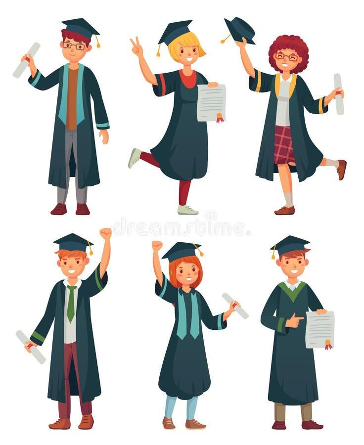 Schulabgänger Student in den Staffelungskleidern, in gebildete Hochschulgraduierendem Mann und in Frauencharakterkarikatur lizenzfreie abbildung
