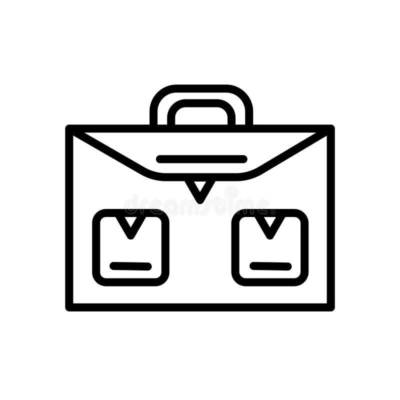 Schulaktenkoffer-Ikonenvektor herein lokalisiert auf weißem Hintergrund, Schulaktenkofferzeichen, linearem Symbol und Anschlagges stock abbildung