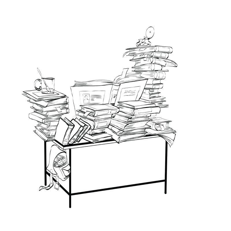 Schulbank mit Büchern, Literatur und der Bibliothek lizenzfreie abbildung