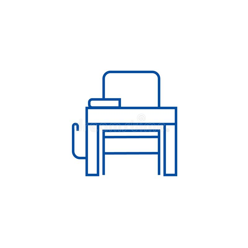 Schulbanklinie Ikonenkonzept Flaches Vektorsymbol der Schulbank, Zeichen, Entwurfsillustration lizenzfreie abbildung