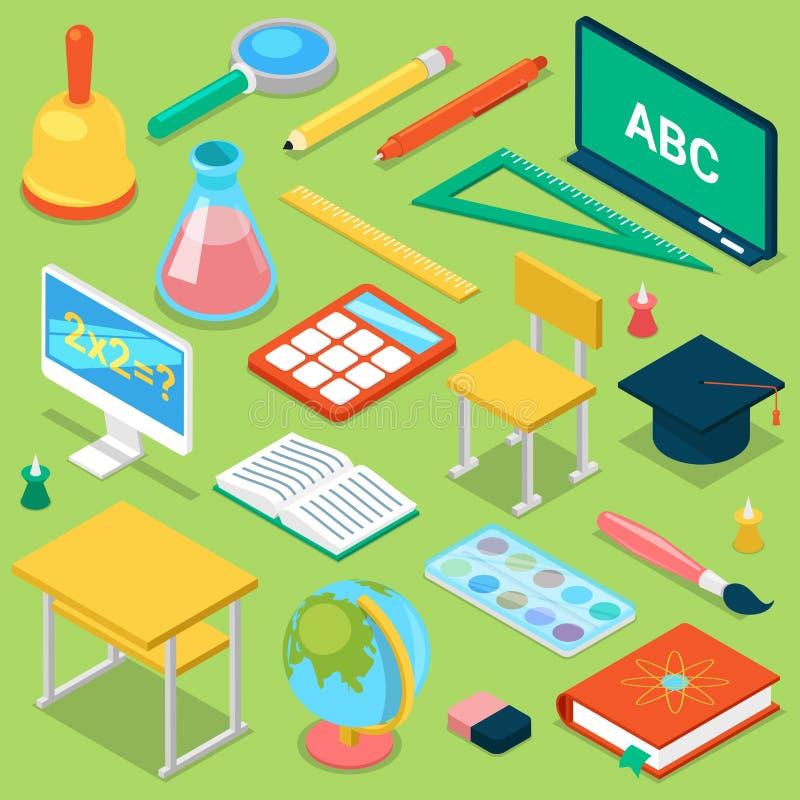 Schulbedarfvektorbildung, die Zusatz für schoolchilds pädagogisches Briefpapier für das Studieren im Klassenzimmer schult vektor abbildung
