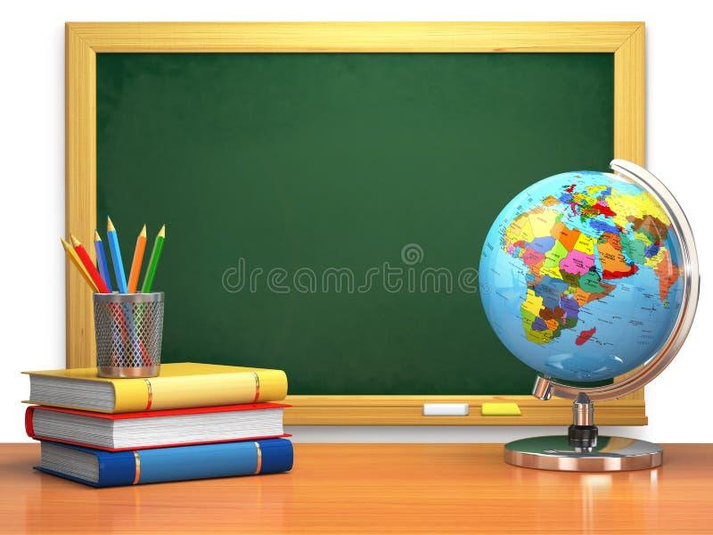 Schulbildungskonzept Tafel, Bücher, Kugel und Bleistifte stock abbildung