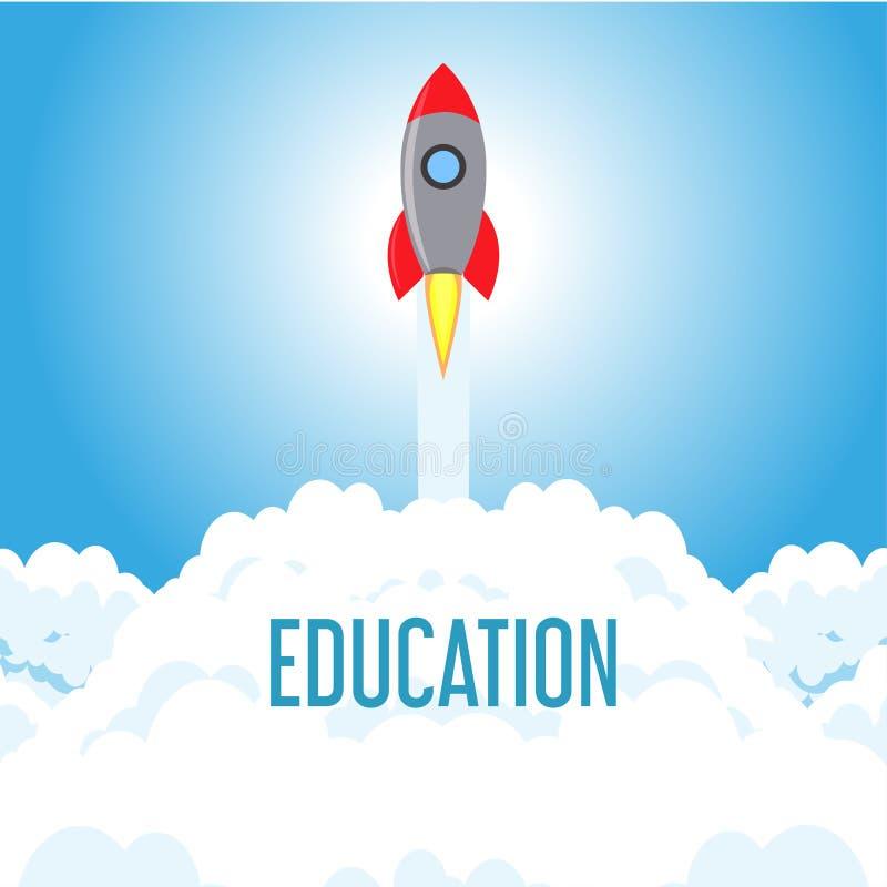 Schulbildungsstudienvektorhochschulsymbolkonzept Rocket-Ikonenwissenszeichen-Wissenschaftshintergrund Lokalisiert das technische  lizenzfreie abbildung