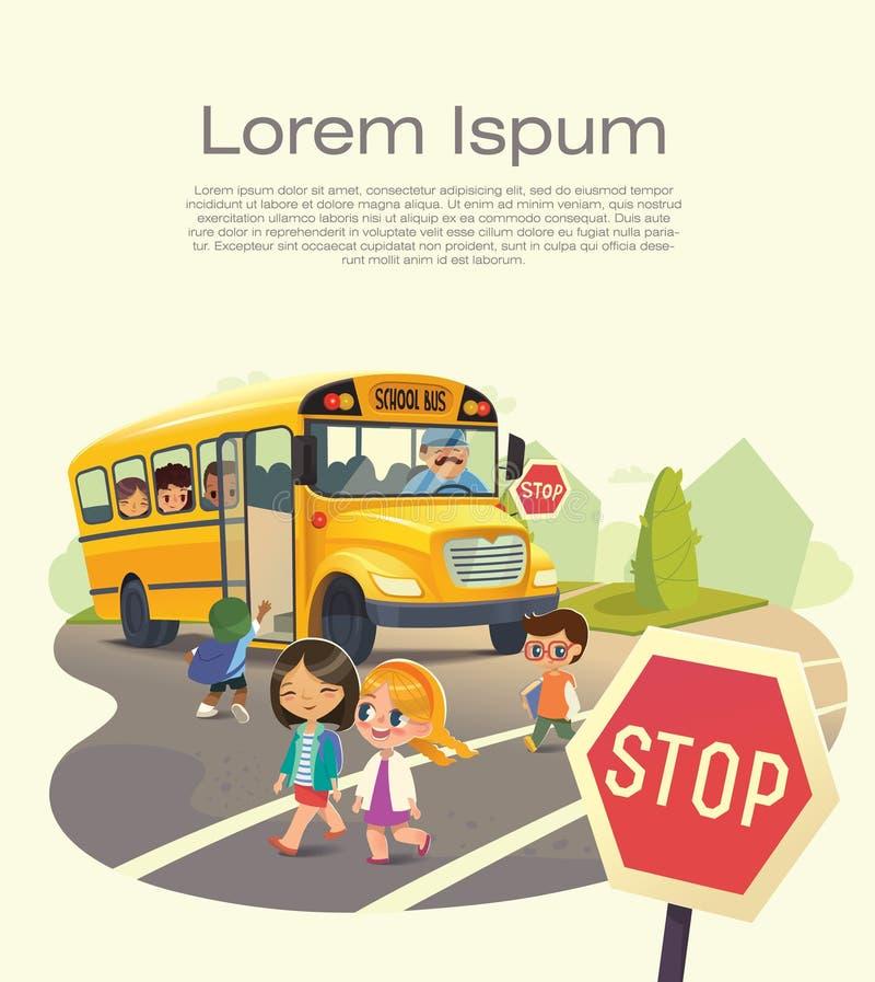 Schulbus-Halt Zurück zu Schulsicherheits-Konzept Führen eines Schulbusses Flieger für Schulbus-Endgesetz Kindereinstiegschulbus K stock abbildung