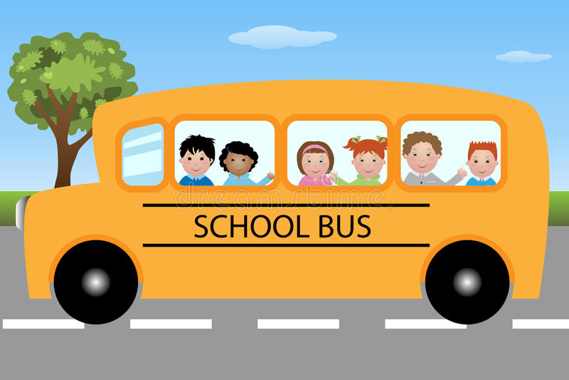 Schulbus mit Kindern stock abbildung