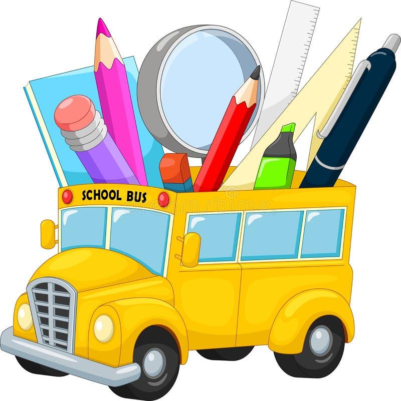 Schulbus mit Schulbedarfkarikatur vektor abbildung