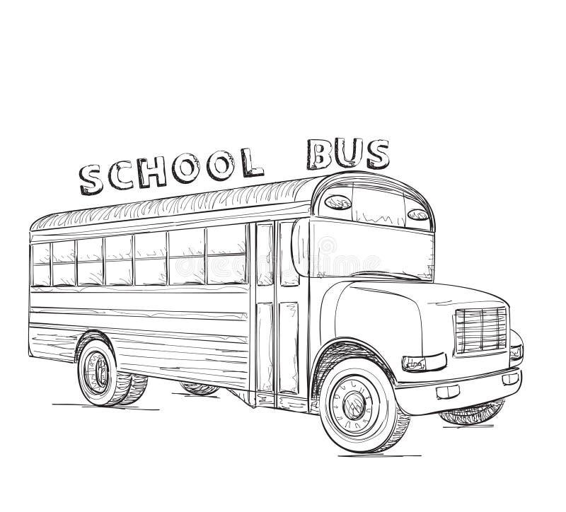 Schulbus-Serie - 1 Hand gezeichnete Transportskizze lizenzfreie abbildung