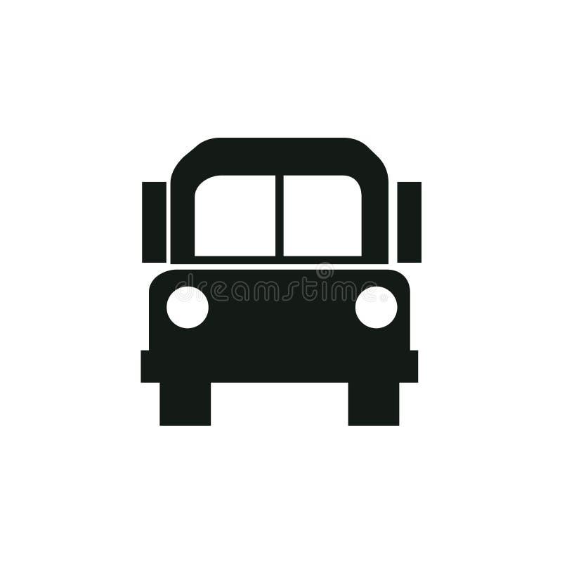 Schulbusikonenvektor, feste Illustration, Piktogramm lokalisiert auf Weiß stock abbildung