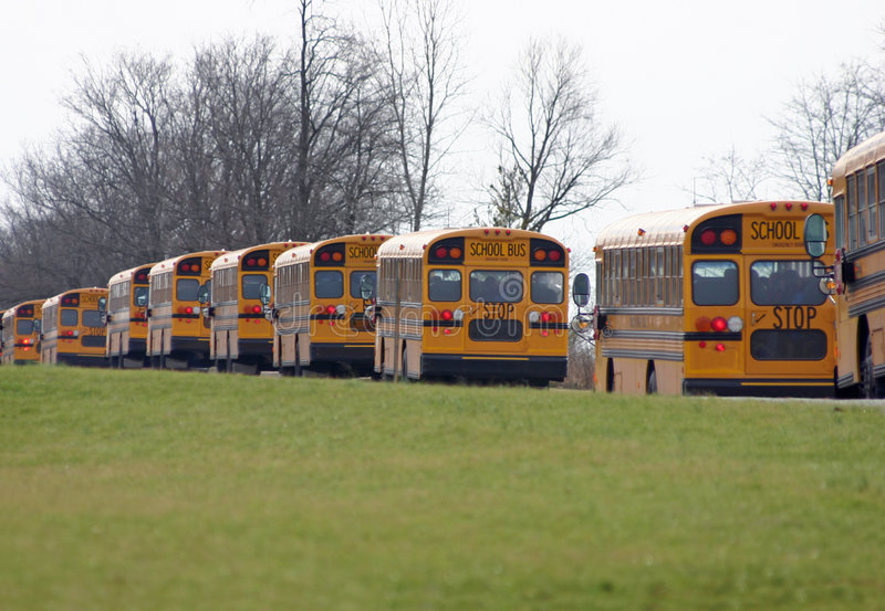 Schulbusse, die in eine Zeile antreiben lizenzfreie stockfotografie