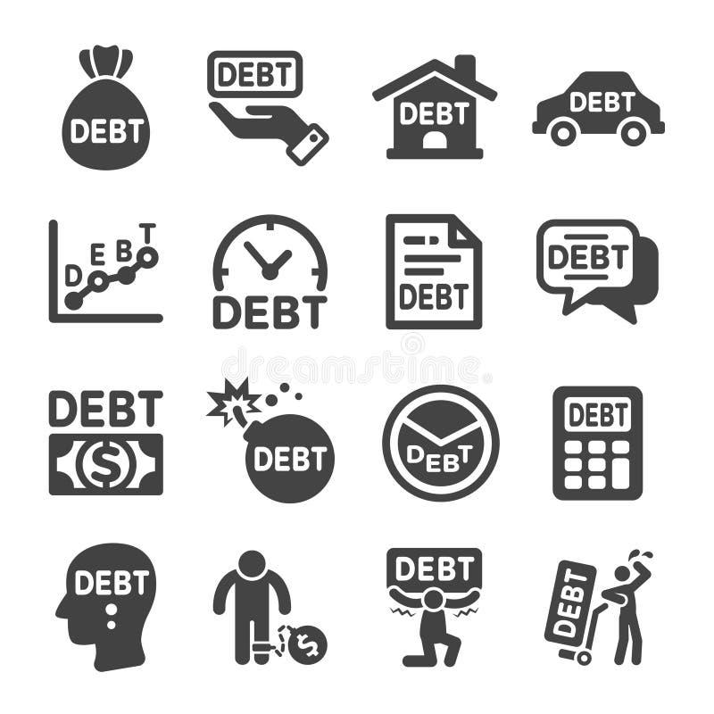 Schuld, Finanzikonensatz stock abbildung