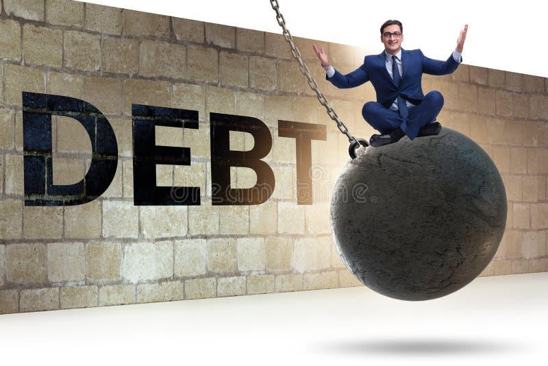 Schuld- und Darlehenskonzept mit Geschäftsmann lizenzfreies stockbild