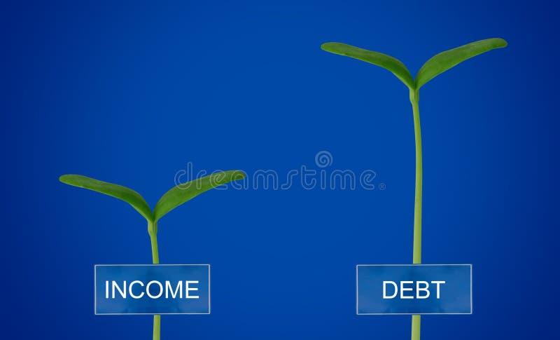Schuld und Einkommen Conccept lizenzfreies stockbild