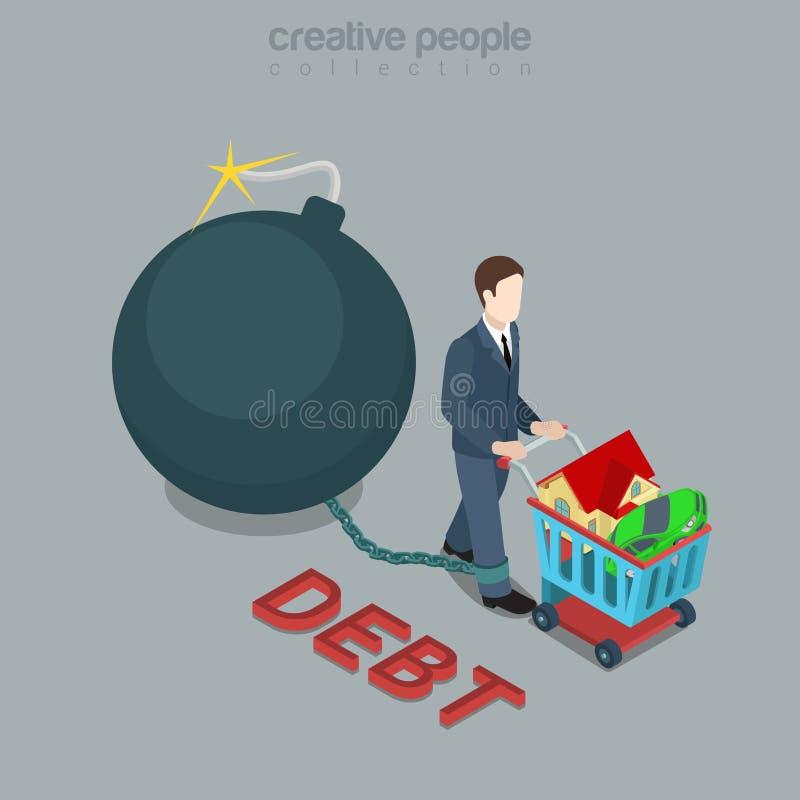 Schuldbom het winkelen 3d isometrische vector van de kredietlening de vlak stock illustratie