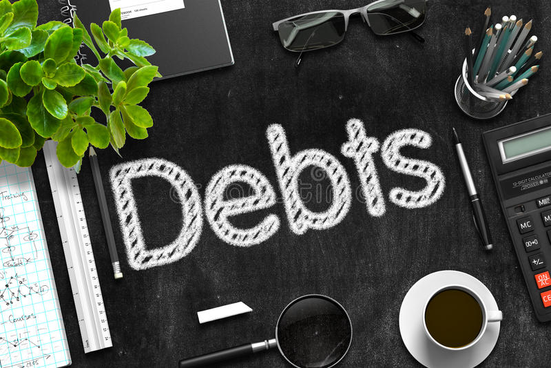 Schulden handgeschrieben auf schwarzer Tafel Wiedergabe 3d stockbild