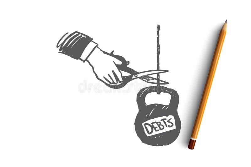 Schulden, Kredit, Geld, Bank, Steuerkonzept Hand gezeichneter lokalisierter Vektor stock abbildung