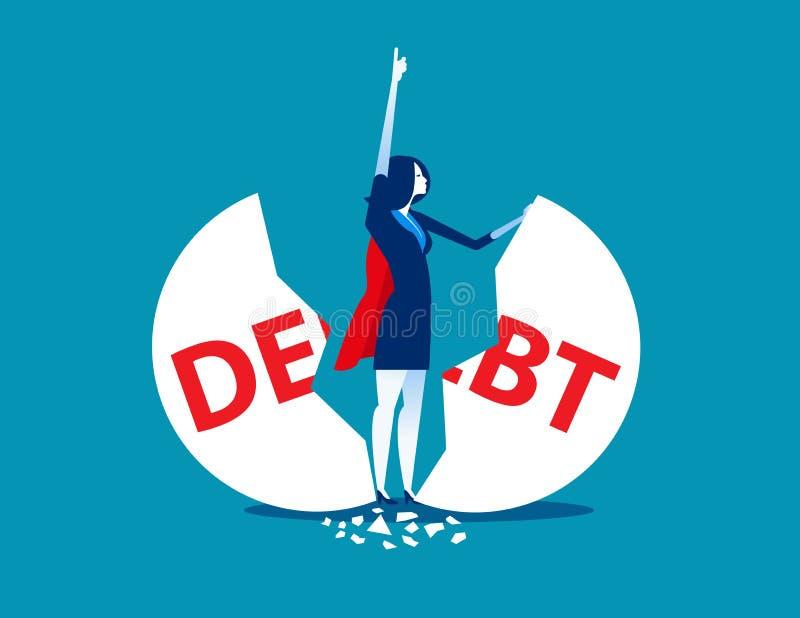 Schuldenbeheer De super onderneemsterstempel barstte grote schuld Concepten bedrijfs vectorillustratie vector illustratie