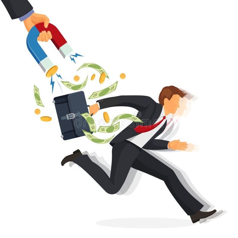 Schuldeneintreibermann mit dem Geld, das weg auf Vektorillustration läuft lizenzfreie abbildung